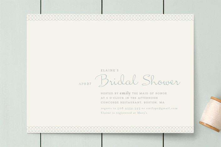 """Dainty Dip"" - Formal, Vintage Bridal Shower Invitations in Cornflower by chocomocacino."