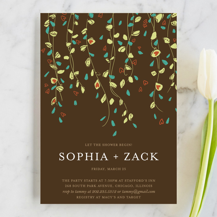 """""""Rain Catcher"""" - Floral & Botanical Bridal Shower Invitations in Bark by Larkspur Paperie."""
