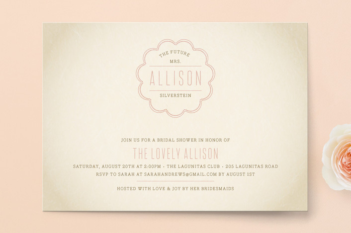 """""""Bonne Amie"""" - Whimsical & Funny Bridal Shower Invitations in Rose by Bourne Paper Co.."""