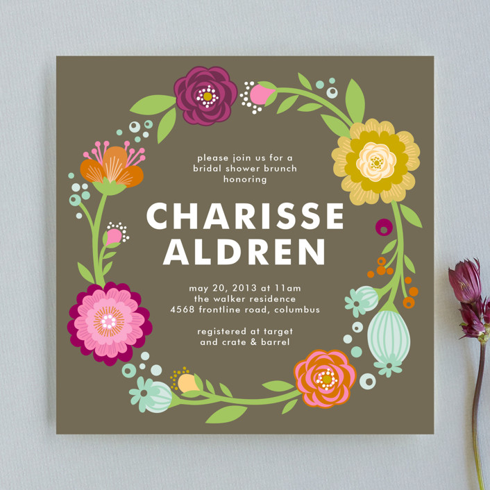 Garden party bridal shower invitations by alethea and ruth minted garden party hand drawn floral botanical bridal shower invitations in coffee filmwisefo