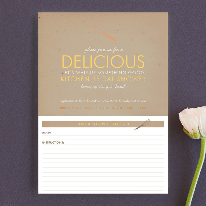 """Couple's Recipe"" - Rustic Bridal Shower Invitations in Cinnamon by Ana Gonzalez."