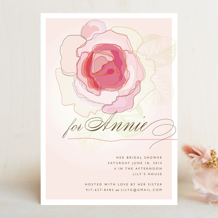 """Rose Blush"" - Formal, Floral & Botanical Bridal Shower Invitations in Carnation Pink by karen boehm custom."
