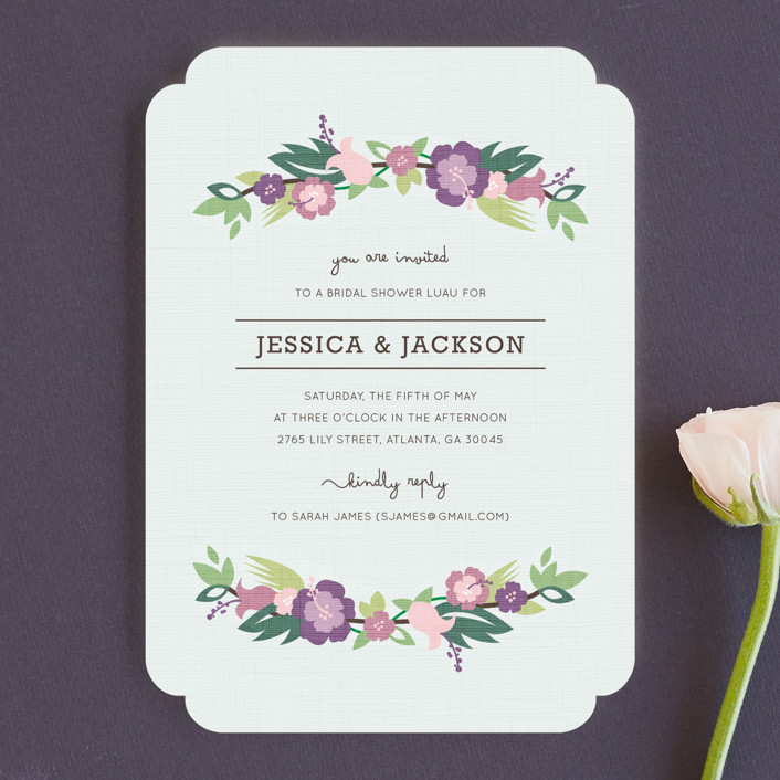 """Tropical Branches"" - Modern Bridal Shower Invitations in Deep Teal by Kristen Smith."