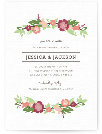 This is a portrait modern, red Bridal Shower Invitations by Kristen Smith called Tropical Branches with Standard printing on Signature in Classic Flat Card format. Our unique bridal shower designs are fully customizable, sourced from independent designers and printed on ...