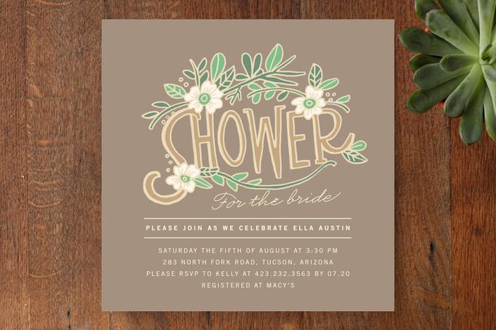 """""""Florella"""" - Rustic Bridal Shower Invitations in Bark by Moglea."""