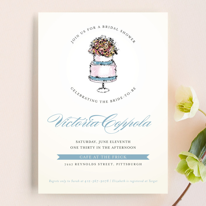 """""""Sweet n' Chic"""" - Vintage, Modern Bridal Shower Invitations in Blueberry by Penelope Poppy."""