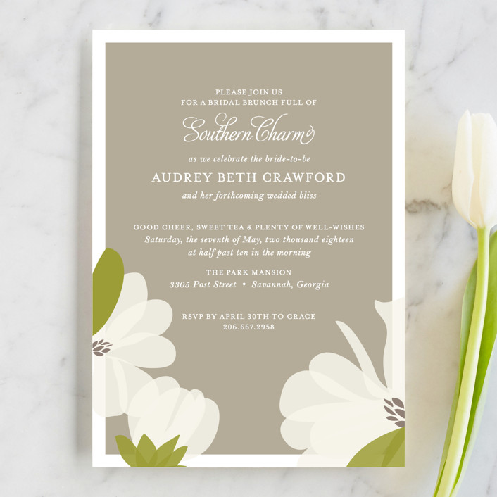 """""""Southern Magnolia"""" - Formal, Hand Drawn Bridal Shower Invitations in Taupe by toast & laurel."""