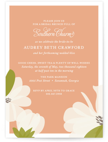 This is a portrait floral, formal, hand drawn, pink, orange Bridal Shower Invitations by Toast & Laurel called Southern Magnolia with Standard printing on Signature in Classic Flat Card format.