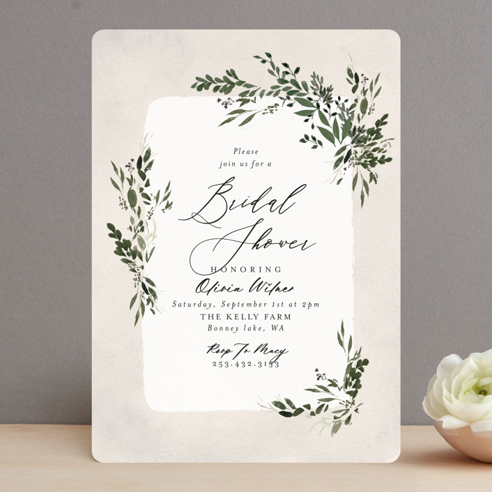 """""""Greenery"""" - Bridal Shower Invitations in Forest by Itsy Belle Studio."""