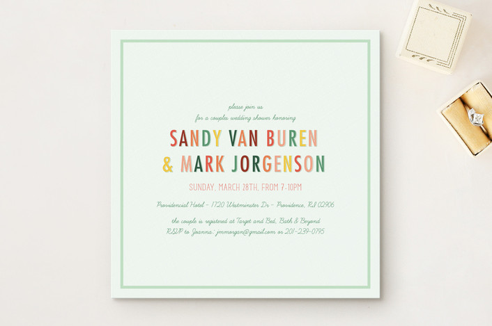 """The Book of Love"" - Bridal Shower Invitations in Mint by Candice Leigh."