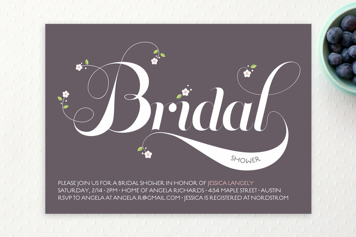 """""""Sweet Floral Type"""" - Bridal Shower Invitations in Eggplant by Coco and Ellie Design."""