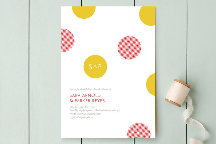 """Confetti Dots"" - Preppy, Modern Bridal Shower Invitations in Merigold by j.bartyn."