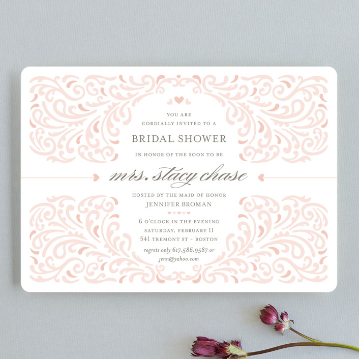 """Elegant Piping"" - Formal, Modern Bridal Shower Invitations in Guava by Mandy Rider."