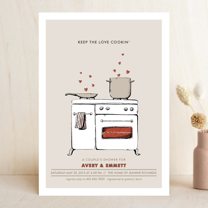 """Keep the Love Cookin'"" - Whimsical & Funny Bridal Shower Invitations in Tomato by pottsdesign."