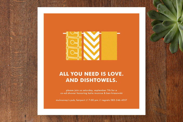 """Love and Dishtowels"" - Modern Bridal Shower Invitations in Orange by Up Up Creative."