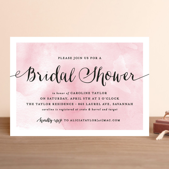 """Watercolor Shower"" - Modern Bridal Shower Invitations in Petal by Hooray Creative."