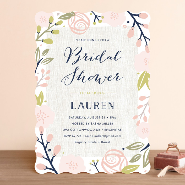 spring shower floral botanical bridal shower invitations in blush by carolyn maclaren