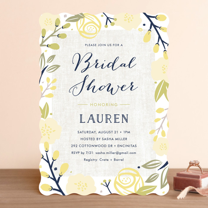 """Spring Shower"" - Floral & Botanical Bridal Shower Invitations in Blush by Carolyn MacLaren."