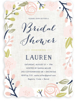 This is a pink bridal shower invitation by Carolyn MacLaren called Spring Shower with standard printing on signature in standard.