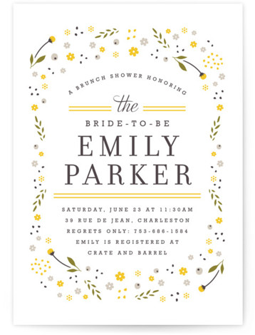 This is a portrait floral, yellow Bridal Shower Invitations by Kristie Kern called Early Blooms with Standard printing on Signature in Classic Flat Card format. Playful florals dance around the frame of this light, bright bridal shower invitation.