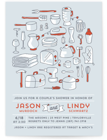 This is a portrait hand drawn, whimsical, red Bridal Shower Invitations by Laura Hankins called Every Little Thing with Standard printing on Signature in Classic Flat Card format. A playful couples shower invitation featuring all of those little registry items. ...