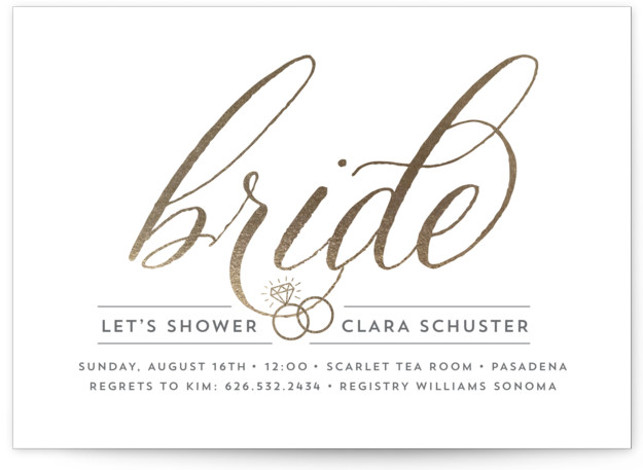 This is a landscape bold typographic, gold Bridal Shower Invitations by Beth Schneider called Golden Bride with Standard printing on Signature in Classic Flat Card format. This bridal shower invitation features a pair of wedding rings hanging from the word ...