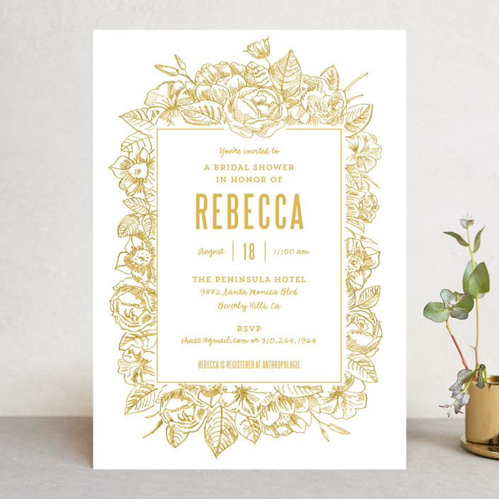 """Sketched Foliage"" - Floral & Botanical Bridal Shower Invitations in Cotton by Smudge Design."