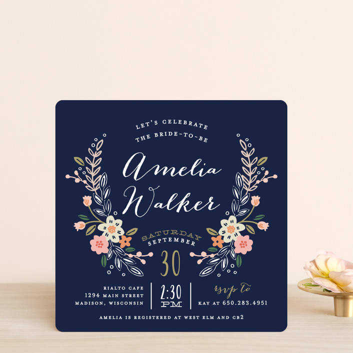 """Wildflower Crest"" - Rustic Bridal Shower Invitations in Navy by Alethea and Ruth."
