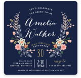 This is a blue bridal shower invitation by Alethea and Ruth called Wildflower Crest with standard printing on signature in standard.