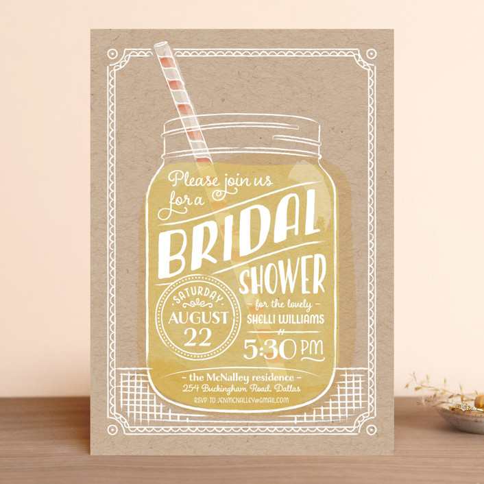 """Summer Sippin'"" - Whimsical & Funny, Hand Drawn Bridal Shower Invitations in Lemonade by Ann Gardner."