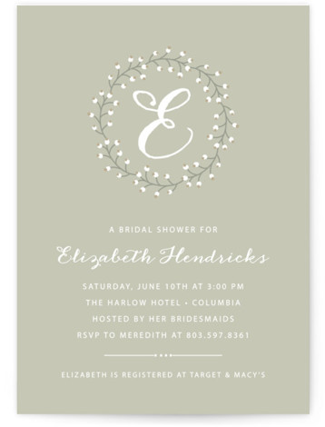 This is a portrait bold typographic, rustic, grey Bridal Shower Invitations by Dulce Dahlia called Baby's Breath with Standard printing on Signature in Classic Flat Card format.