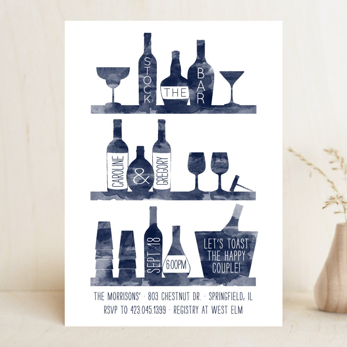 """""""Top Shelf"""" - Whimsical & Funny, Hand Drawn Bridal Shower Invitations in Black Olive by Sarah Brown."""