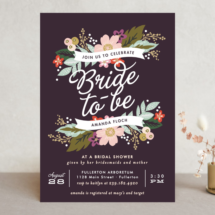 """Banner Names"" - Floral & Botanical, Vintage Bridal Shower Invitations in Plum by Alethea and Ruth."