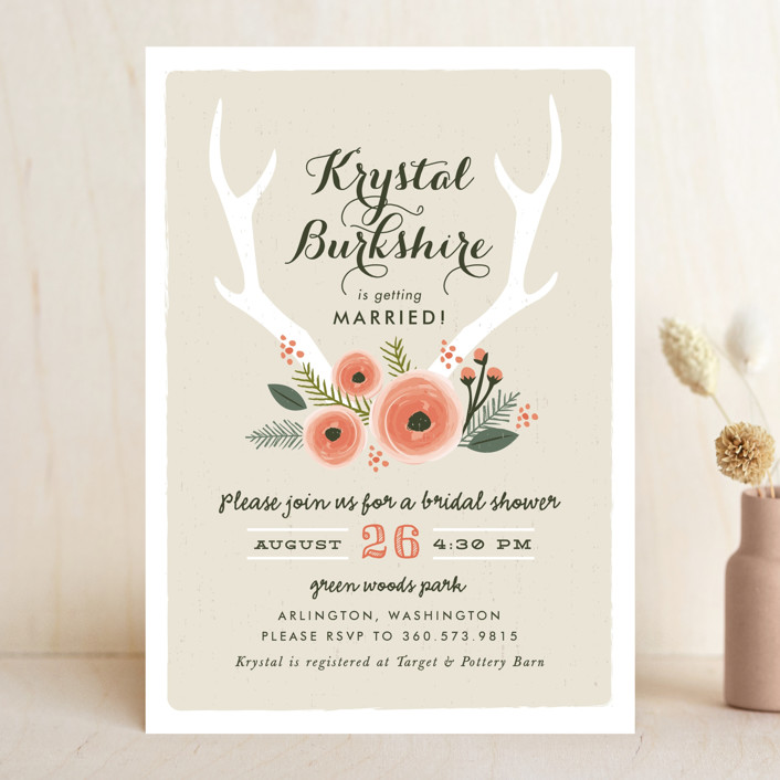 """""""Woodland Fairytale"""" - Rustic, Floral & Botanical Bridal Shower Invitations in Dove Grey by Karidy Walker."""