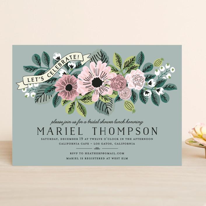 """Wedding Trellis"" - Floral & Botanical, Vintage Bridal Shower Invitations in Sage by Chris Griffith."