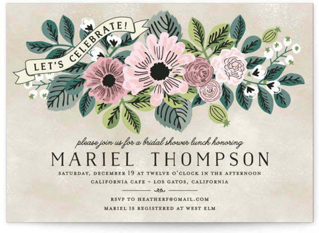 This is a landscape floral, vintage, pink Bridal Shower Invitations by Chris Griffith called Wedding Trellis with Standard printing on Signature in Classic Flat Card format.
