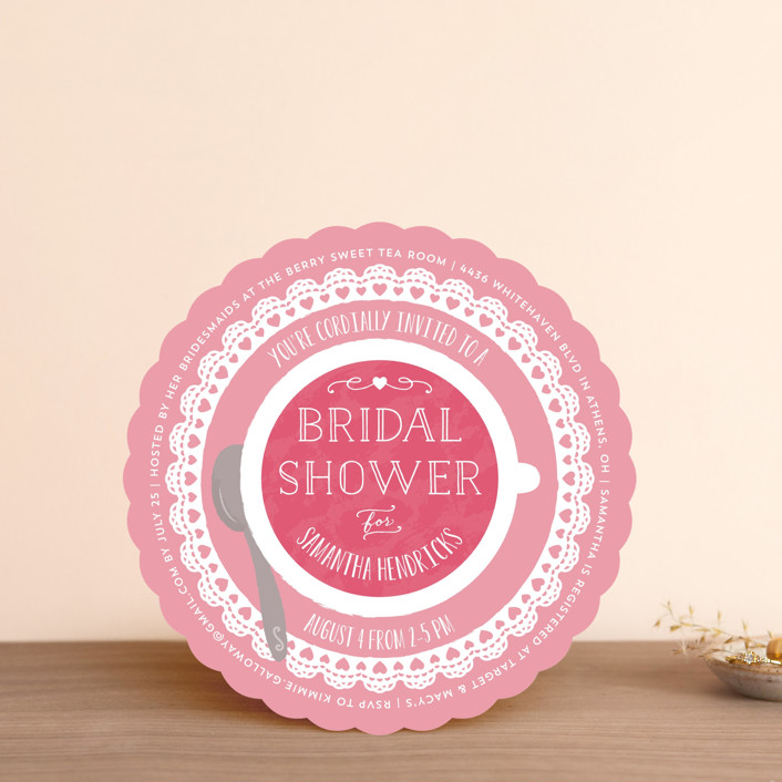 """Dainty Doily"" - Bridal Shower Invitations in Primrose by Sarah DeWitt."