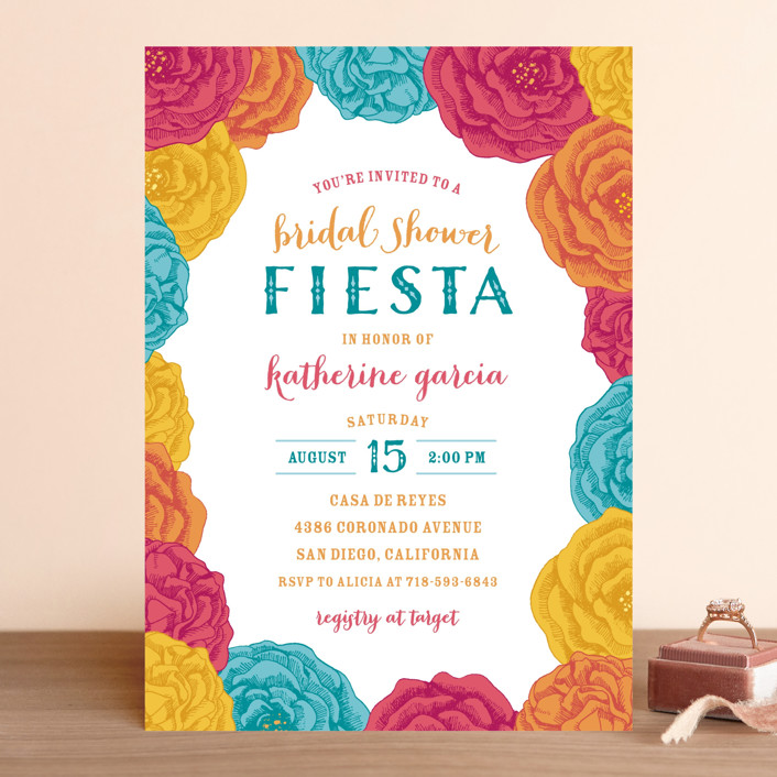 """Fiesta!"" - Bridal Shower Invitations in Teal by Hooray Creative."