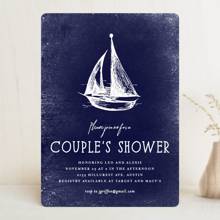 """Nautical"" - Hand Drawn, Destination Bridal Shower Invitations in Navy by Rebecca Bowen."