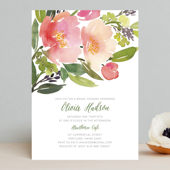 """""""Watercolor Floral"""" - Bridal Shower Invitations in Olive by Yao Cheng Design."""