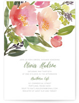This is a green bridal shower invitation by Yao Cheng Design called Watercolor Floral with standard printing on signature in standard.