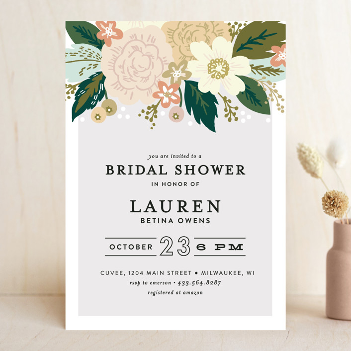 """Classic Floral"" - Bridal Shower Invitations in Spring Blush by Alethea and Ruth."
