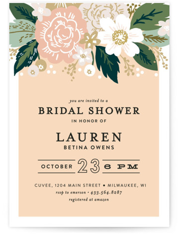 This is a botanical, orange Bridal Shower Invitations by Alethea and Ruth called Classic Floral with Standard printing on Signature in Classic Flat Card format. This wedding invite features a cascade of flowers and classic type.