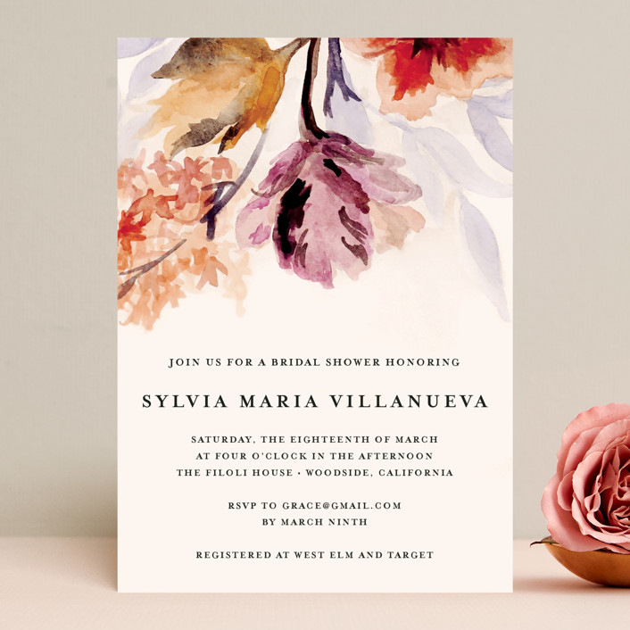 """Grecian Floral"" - Bridal Shower Invitations in Tulip by Olivia Kanaley."