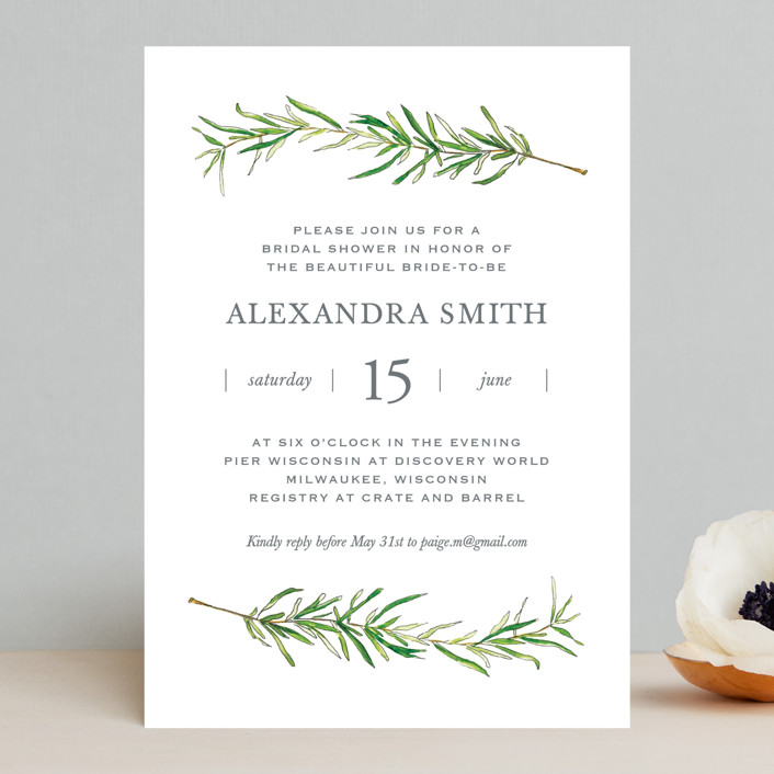 """Simple Sprigs"" - Rustic Bridal Shower Invitations in Fern by Erin Deegan."
