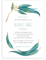 This is a green bridal shower invitation by Four Wet Feet Studio called Eucalyptus Leaves with standard printing on signature in standard.
