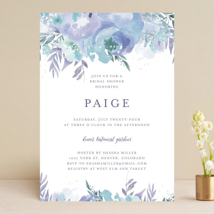 """Big Blooms"" - Bridal Shower Invitations in Dew by Grace Kreinbrink."