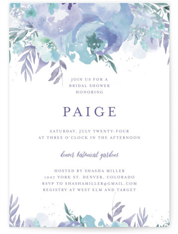 This is a botanical, painterly, blue, green, purple Bridal Shower Invitations by Grace Kreinbrink called Big Blooms with Standard printing on Signature in Classic Flat Card format. Giant, vivid hand painted watercolor blooms frame this wedding invitation.
