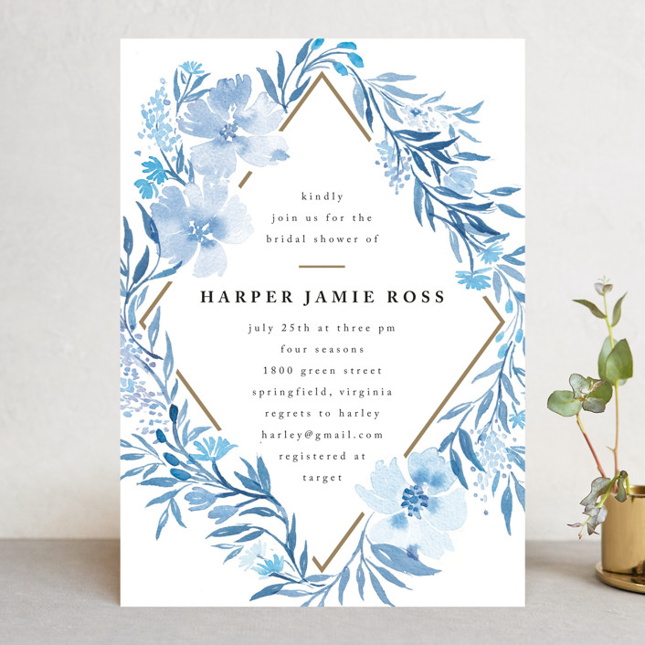 """Poetic Blue"" - Bridal Shower Invitations in Sky by Qing Ji."