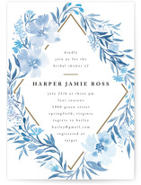 This is a blue bridal shower invitation by Qing Ji called Poetic Blue with standard printing on signature in standard.